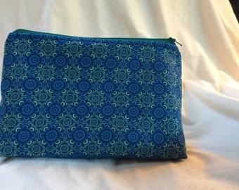 Blue & Green Print Cosmetic Makeup Bag