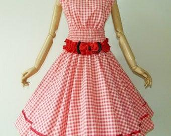 Winsome Wind Neck Pink Tartan 50s Pin up Rockabilly Swing Dress Full Swing Skirt Plus Size 18 20 22