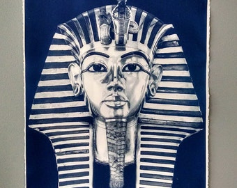 Pharoah King Tut Deep Blue Cyanotype on Arches Watercolor paper