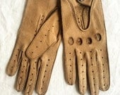 Vintage 1970's Driving Gloves Motorcyclists Ladies Biker Babes Leather Gloves Retro Rocker Chic Women's Size Small