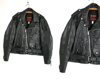 Vintage 70's Hot Leathers Black Leather Motorcycle Jacket Biker Motorcyclists Easy Rider Rock and Roller Men's Size 44 Vtg Vg