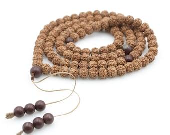 Tibetan 108 10mm x 8mm Rudarksha Bodhi Seed Prayer Beads Buddhist Mala Necklace  N108-JG001