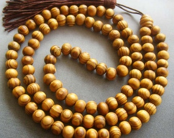 Tibetan Buddhist 108 7mm Wood Prayer Beads Mala Necklace  T1692
