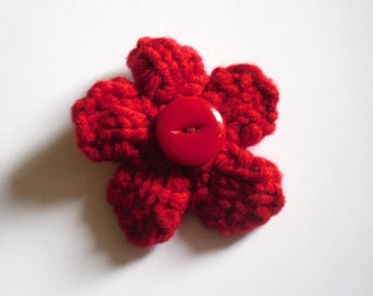 Flower Brooch, Red Flower Pin, Knitted Brooch