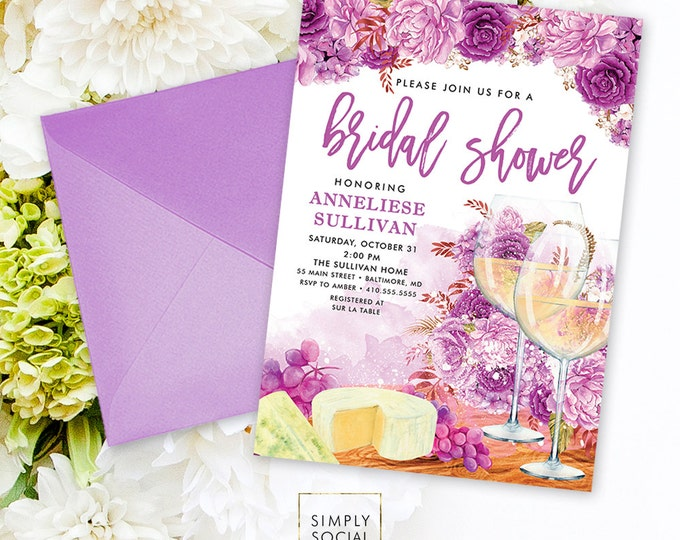 Wine Bridal Shower Invitation - Wine Tasting Invitation Sip and See Invitation Wine and Cheese Party Wine Invitation Printable Invitation
