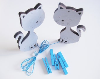 Artwork display hanger, grey cats,  kids wall decor hangers