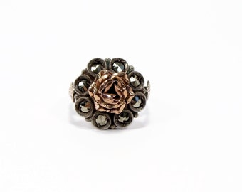 Rose Gold Silver Marcasite Ring, Size 6, Antique Ring, Estate Jewelry, Flower Ring, Vintage Jewelry, 1940s Ring, Ladies Ring, Ring