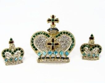 Amazing Rhinestone Crown Brooch Earring Set Signed TARA, Pave Rhinestone, CORO Style, Coronation Crown, Estate Jewelry, Delizza Elster
