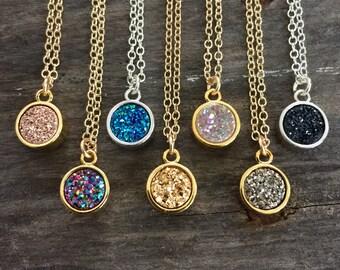 Tiny Druzy Necklace, Round Druzy Necklace, Druzy Quartz Jewelry, Rose Gold Druzy Necklace, Gemstone Necklace, Gemstone Jewelry