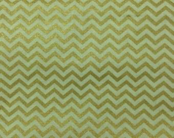 Chevron - Gold Metallic - Mini Chevron - Cotton Quilting Fabric
