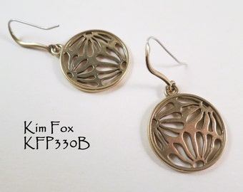 Asian Inspired Round Pierced Floral Earrings in Bronze designed by Kim Fox
