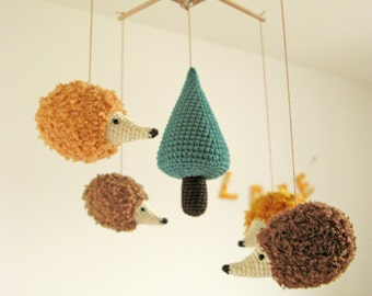 Woodland Baby Mobile, Hedgehog Baby Mobile, Forest Mobile, Woodland Nursery, Neutral Nursery Mobile