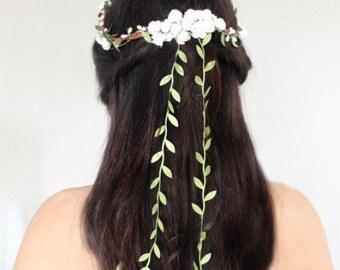 Flower & Leaf Crown, Wedding Headpiece, floral crown,  Bridal Tiara, Hair Flower - DEL - by DeLoop