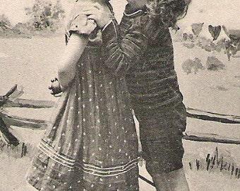 KIDS ROMANCE & LOVE Series unique black and white European Original postcard real photo, Photograph Post card #1