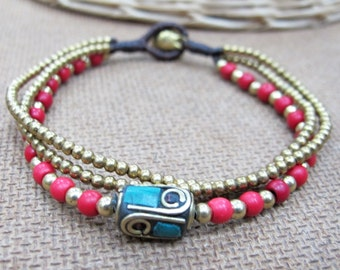Drum Tibetan Style Brass with Coral and Turquoise Bracelet in Red Coral Bead.