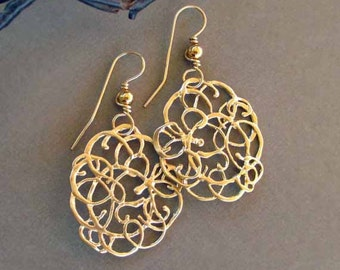 Gold Lace Earrings Gold filigree Earrings Abstract Modern Jewelry