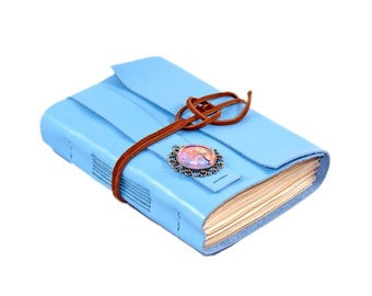 Light BLue Leather Journal - Tea Stained Paper - Travel Journal - Leather Journal - Tree of Life - Bookmark - Wedding Journal - Handmade -