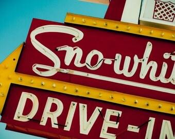 Sno-White Drive In Sign Photo - Neon Sign - Retro Kitchen Decor - Fine Art