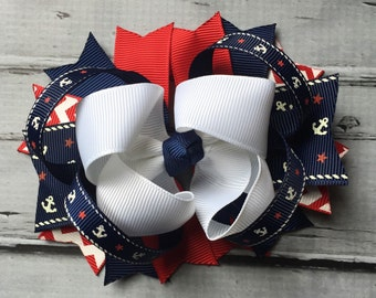 NEW ITEM Boutique Baby Girls Layered 4th ofJuly Hair Bow Clip Patriotic Bow Red White and Blue Hairbow Star Hair Bow Clip 4th of July Clip