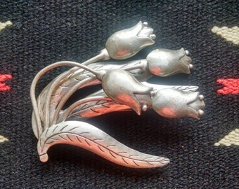 Hector Aguilar for Coro Spray of Flower Sterling Silver 925 Pin Brooch
