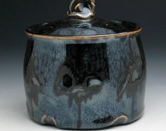 Bronze Skull Jar, Metallic Black & Bronze Skull Lidded Sugar Bowl