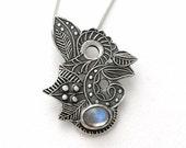ON SALE Blue Labradorite silver necklace, Blue fairy pendant, Moonglow blue labradorite pendant