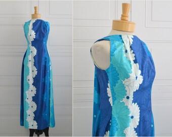 1960s Lauhala Hawaiian Turquoise Daisy Hostess Dress