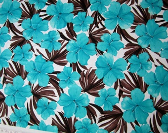 Lycra Fabric Blue Hawaiian Hibiscus Floral Print Lycra Swimwear Dance Wear Fabric Crafts Sewing Y11 12