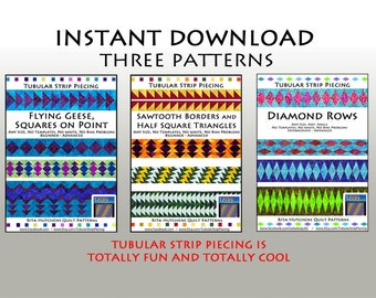 3 QUILT PATTERNS / Tubular Strip Piecing / Sawtooth Borders, Flying Geese, Diamond Rows  / Instant Download