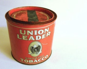 1950s Union Leader TOBACCO Tin, Rustic 50s Red HUMIDOR and 60s 70s Casino Matchbook Collection, Tobacciana, Jackpot Jen Vintage