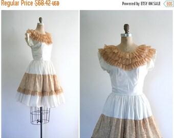 SALE / vintage 1950s lace collar picnic dress - Sweet Lolita dress / 1950s summer patio dress - full circle skirt / vintage 50s dress