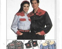 Simplicity 9689 Unisex Western Cowboy Shirt Sewing Pattern All Sizes UNCUT Square Dancing Costume