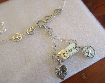 STERLING Silver, Artisan, Peace Foci Pendant w/2 Peace Sign CHARM Dangles on 5 Peace Sign Connector & Sterling Link Chain Necklace - OOAK