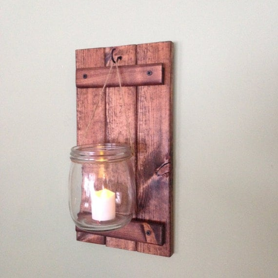 Country Wall Sconce Candle Holder : Items similar to Wooden Wall Sconce, Rustic Candle Holder, Country Wall Decor, Mason Jar Wall ...