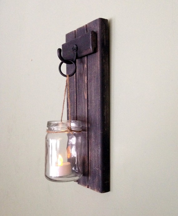 Wooden Wall Sconce Rustic Candle Holder Mason Jar Candle