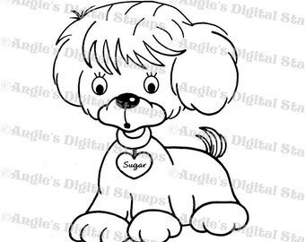 Sugar The Puppy Digital Stamp Image