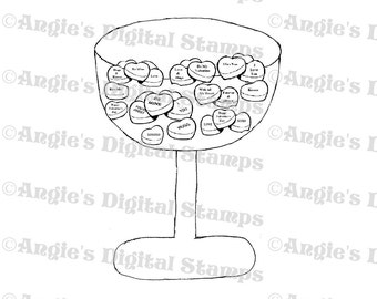 Bowl of Heart Candy Digital Stamp Image