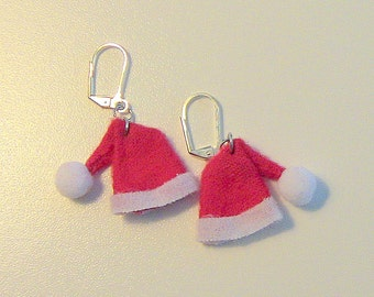 Santa Hat Earrings, Holiday Earrings, Christmas Gift