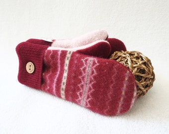 Wool Mittens POMEGRANATE RED Fair Isle Sweater Felted Wool Fleece Lined Gloves Red Mittens Gift for Women Gift Under 50 by WormeWoole