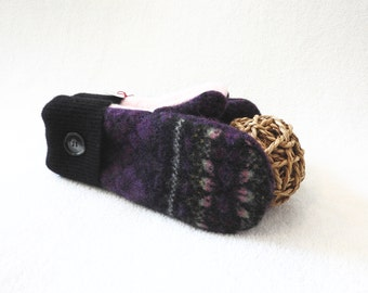 Womens Wool Mittens PURPLE & BLACK with Pink Fair Isle Sweater Felted Wool Mitts Fleece Lined Gloves Eco Gift Under 50 for Her by WormeWoole
