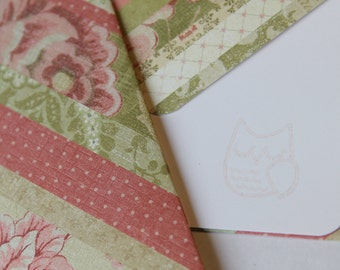 Set of 2 Stationery - Ribbon Floral Designs with Pink and Green Garden Whimsy Feel - Sweet Owl