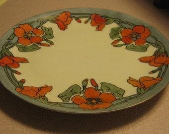 1911 Favorite Bavaria Odell Martin Signed Arts & Crafts Era China Plate Orange Poppies