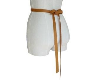 Honey Tan Leather Ribbon Belt - Leather Wedding Dress Sash - 3/4 inch - Leather Bow Belt Seamless - Wedding Dress Belt - XS S M  custom made
