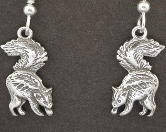 Sterling Silver Skunk Earrings on Heavy Sterling Silver French Wires