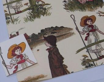 Vintage Unused Gift Wrap Sheet w/ Matching Gift Card  ~ Kate Greenway ~ Children