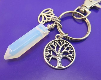 Moonstone keychain - opalite gemstone keyring - point crystal keychain - Tree of life keychain lotus flower silver with swivel clasp