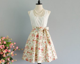 My lady - Spring Summer Sundress White Lace Top Pale Yellow Floral Skirt Yellow Floral Bridesmaid Dress Lace Party Dress Prom Dress XS-XL