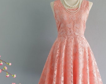Party Angel Dress Coral Lace Backless Dress Coral Orange Lace Prom Party Wedding Bridesmaid Dress Coral Lace Dress Cocktail Lace Dress XS-XL