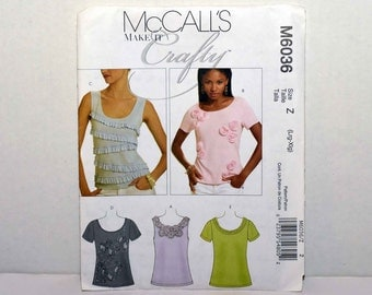 McCalls Make it Crafty  Misses Tops  Size Lrg - Xlg        Pattern Number 6036 --  2010 Pattern