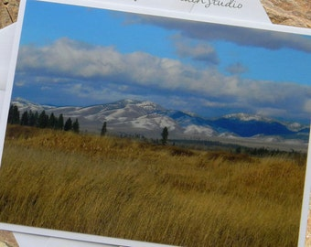 Mountains and Golden Grasses Photo Note Card. Montana Scenic Nature Photography.